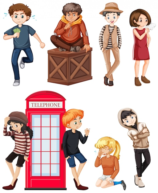 Set of teenagers isolated Free Vector