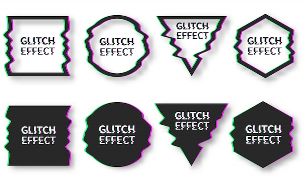 Set of template design in glitch style Premium Vector
