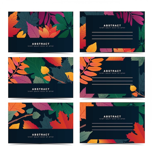 Установите шаблон приглашения с рисунком осенних листьев. индивидуальная подарочная карта с осенним цветком и травами Premium векторы