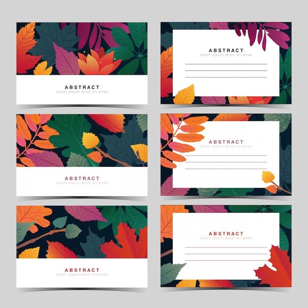 가 잎 패턴 템플릿 화이트 초대 카드 설정 프리미엄 벡터