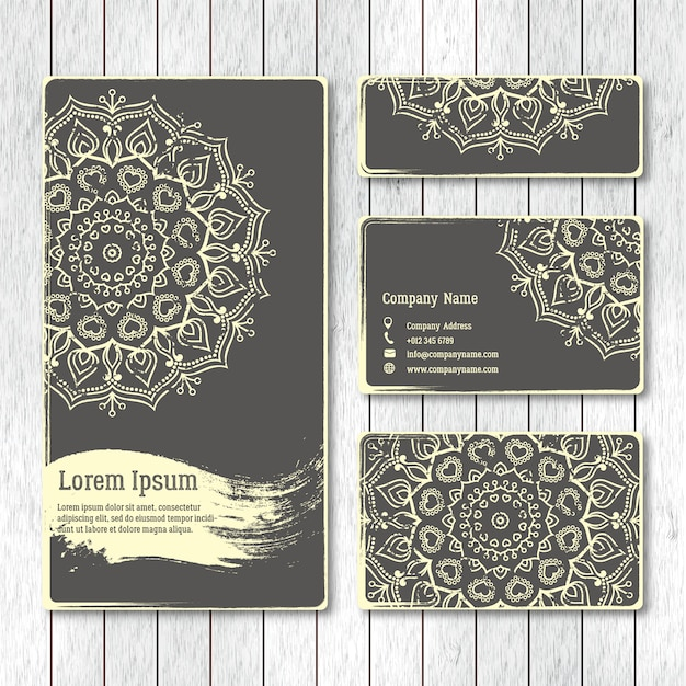 Set of templates business, visiting, greeting cards, brochure  w Premium Vector