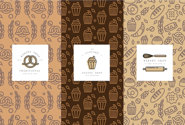 Set of  templates and elements for bakery packaging in trendy sketch linear style. Premium Vector