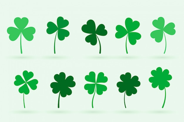 Set of ten clover leaves in flat style Free Vector
