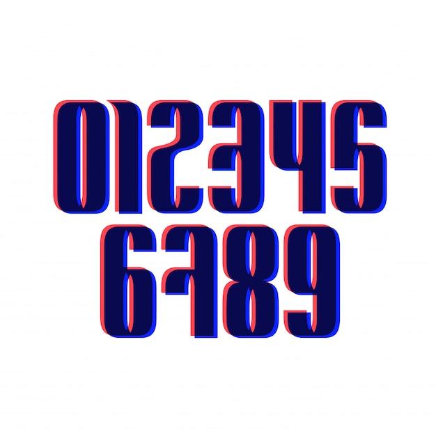 Set of ten numbers form zero to nine with glitch effect Premium Vector