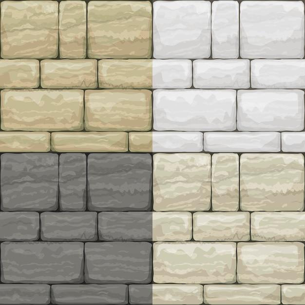 Set texture of old stone Premium Vector