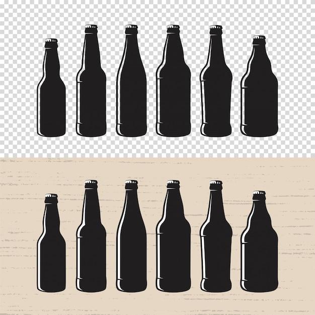 Set of textured craft beer bottle label . Premium Vector