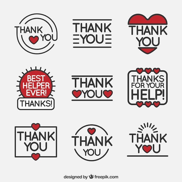 Set of thank you stickers in linear style Free Vector