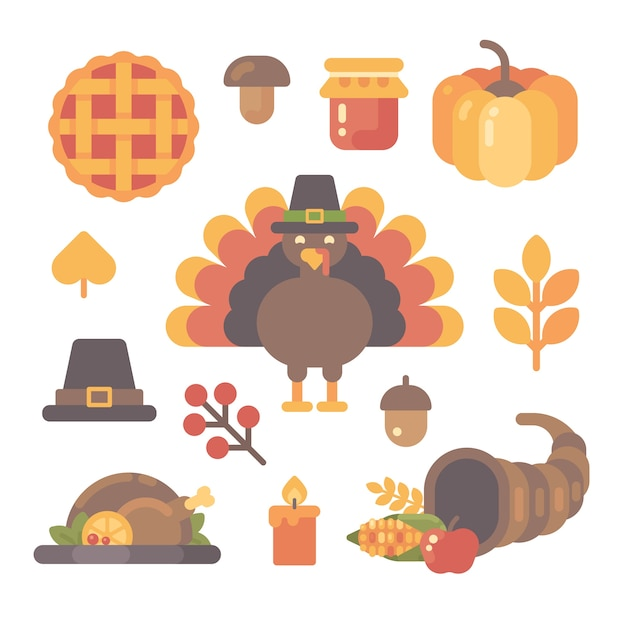 Set of thanksgiving flat icons on white background. Premium Vector