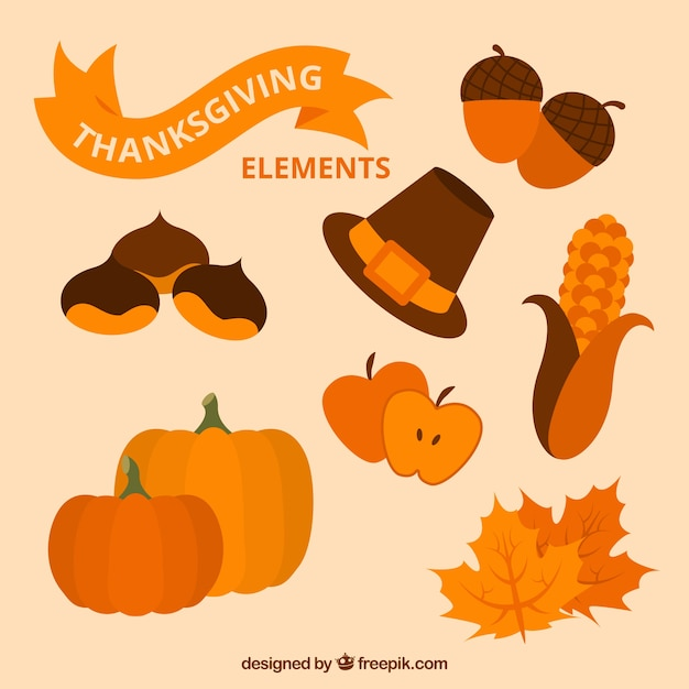 Set of  thanksgiving natural elements Free Vector