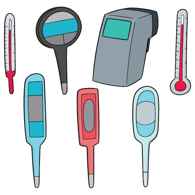 Set of thermometer Premium Vector
