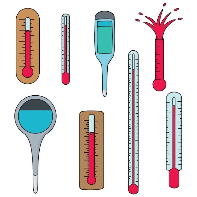 Set of thermometer Premium Vector