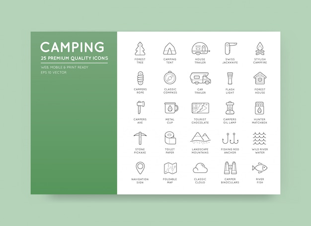 Set of thin hunting camping sport elements Premium Vector