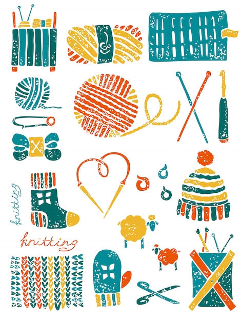 Set of the things for knitting Premium Vector