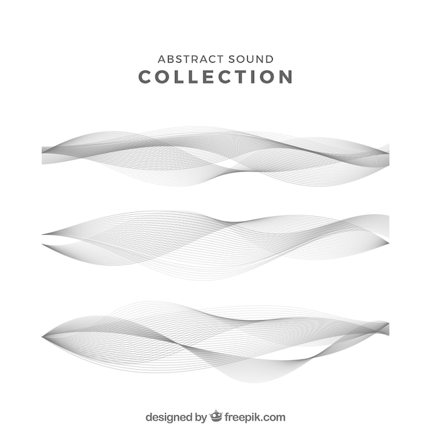 Set of three abstract sound waves Premium Vector
