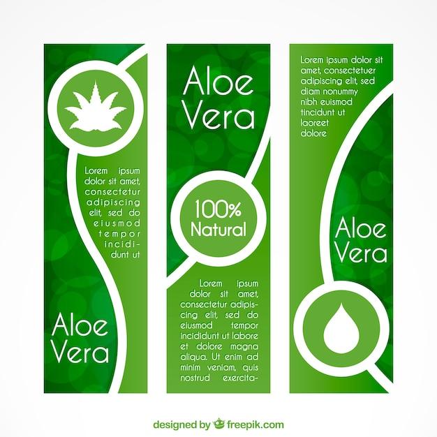 Set of three aloe vera banners Free Vector