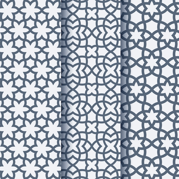 Set of three arabic geometric pattern Premium Vector