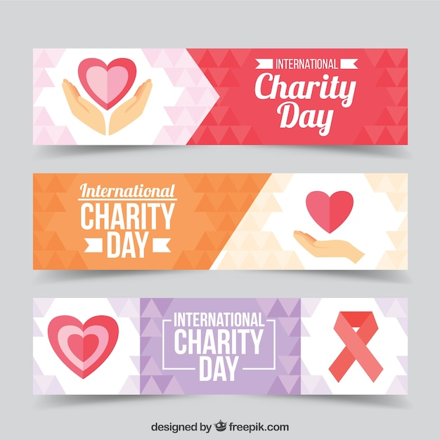Set of three banners with hearts of charity day Free Vector
