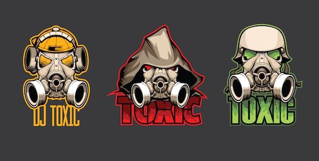 Set of three bio masks with the inscription toxic Premium Vector