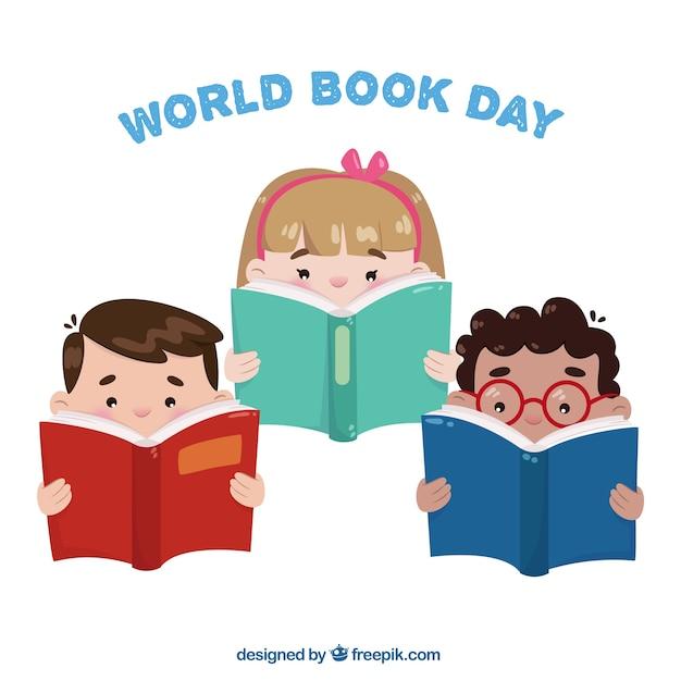 Set di tre bambini la lettura di libri Vettore gratuito