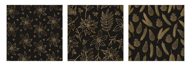 Set of three christmas seamless patterns with gold plant line, symbol of the holiday. Premium Vector
