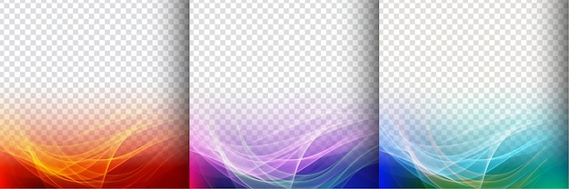 Set of three colorful transparent wave background Free Vector