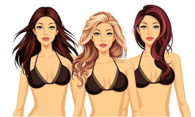 EPS vẽ ba người mẫu tóc vàng tóc nâu mặc bikini đen
