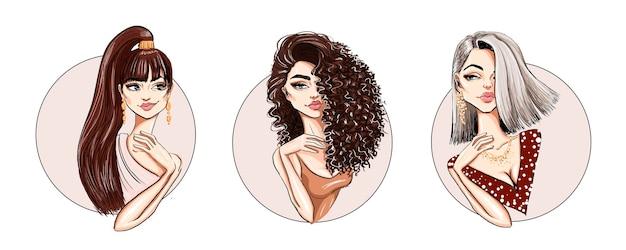 Set of three cool hairstyles with beautiful stylish model Premium Vector Premium resource  Unlock t