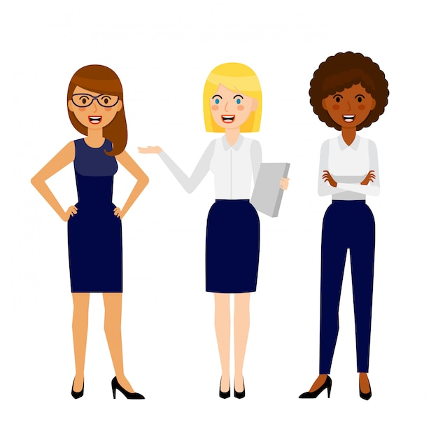 Set of three different smiling business woman Premium Vector