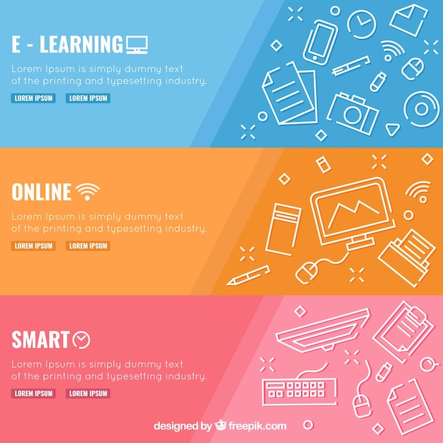 Set of three digital education banners with white elements in flat design Free Vector