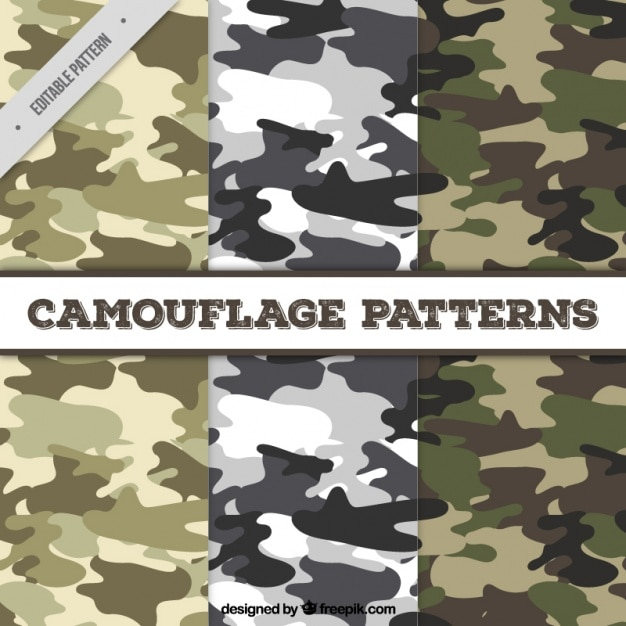 Set of three fantastic camouflage patterns Free Vector