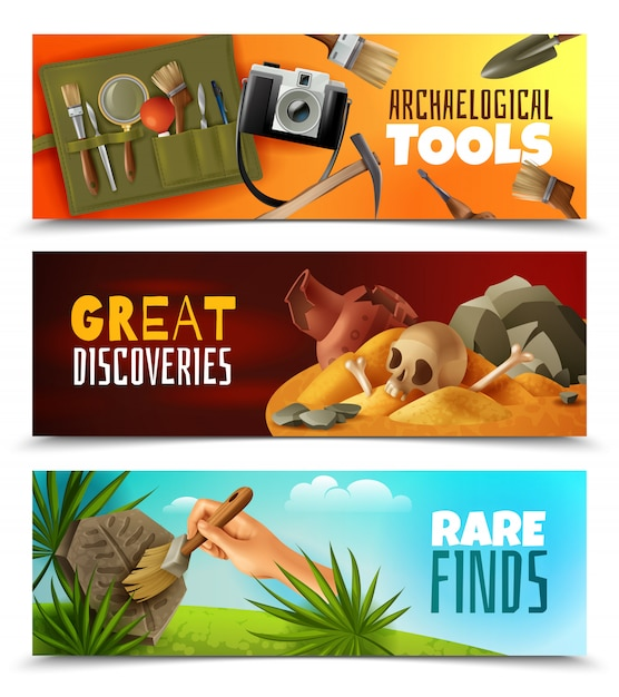 Set of three horizontal archeology banners with cartoon style images and colourful landscapes with editable text Free Vector