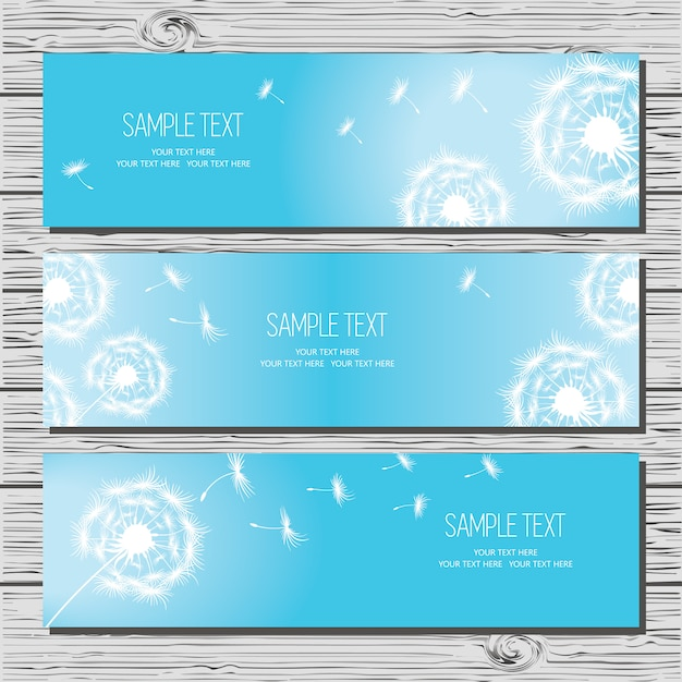 Set of three horizontal cards with dandelions and dandelion seeds on blue background. Premium Vector