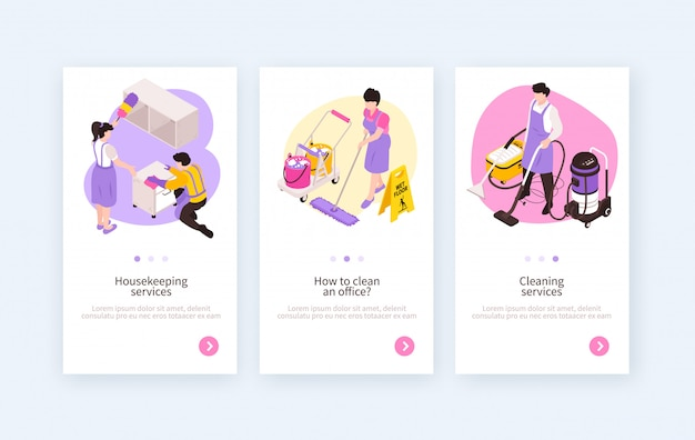 Set of three isolated isometric cleaning service vertical banners with clickable buttons and editable text description Free Vector