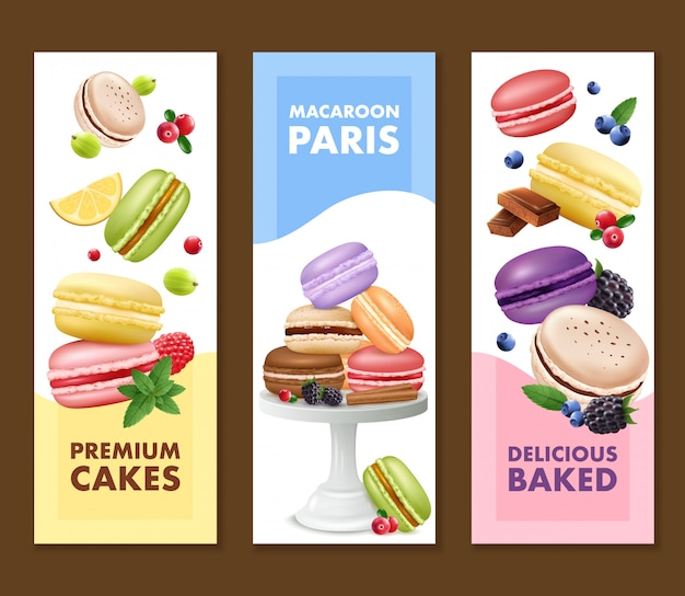 Set of three isolated vertical macaroons banners Free Vector