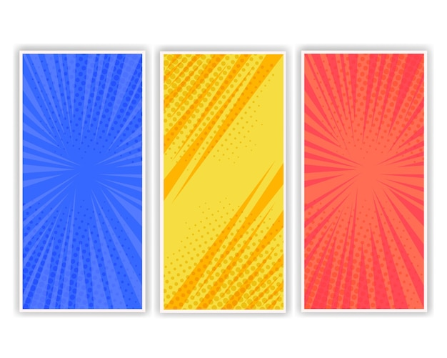 Set of three page comic book in pop art style Premium Vector