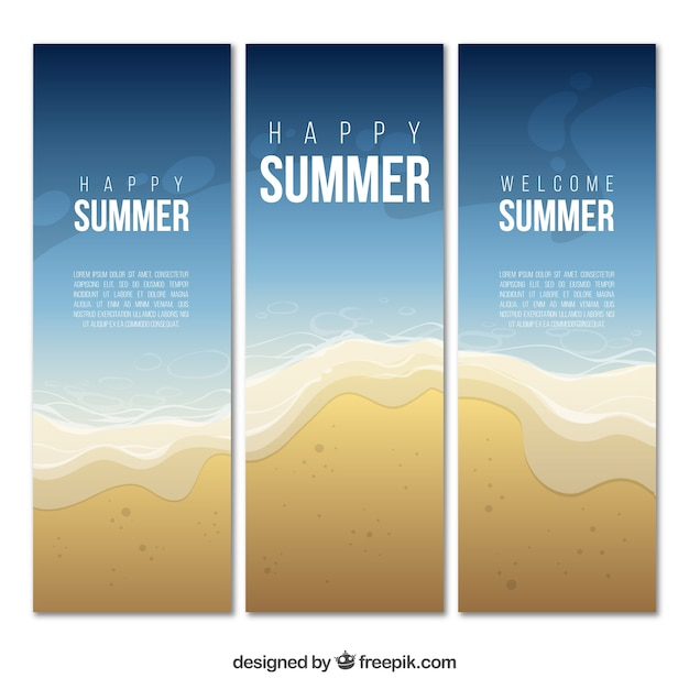 Set of three summer banners with sea and sand Free Vector