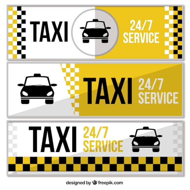 Set of three taxi service banners Free Vector