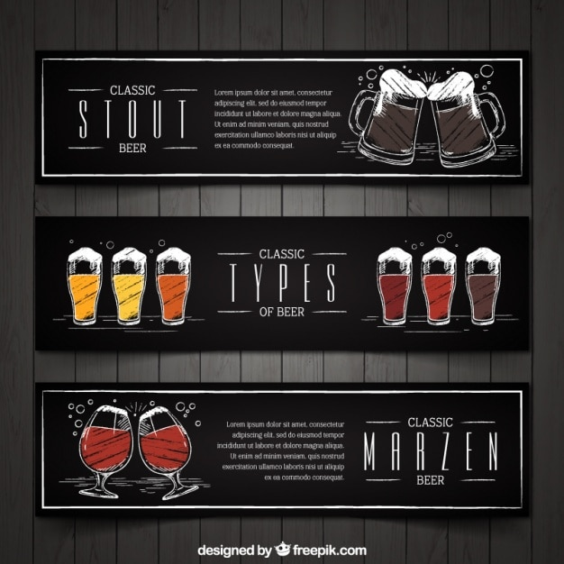 Set of three vintage hand-painted beer banners Free Vector