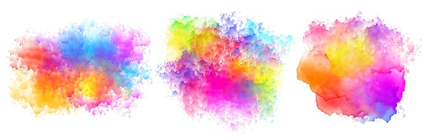 Set of three watercolor splatter stains design Free Vector