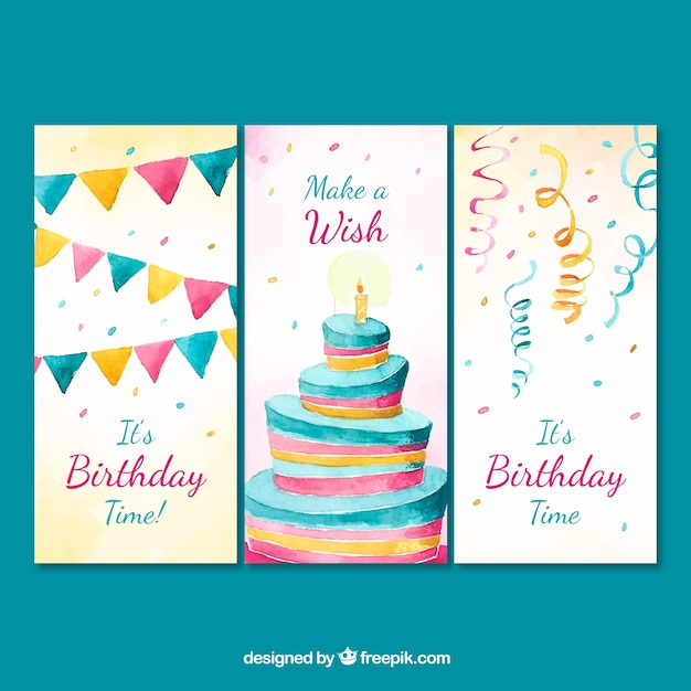 Set of three watercolour birthday cards Free Vector