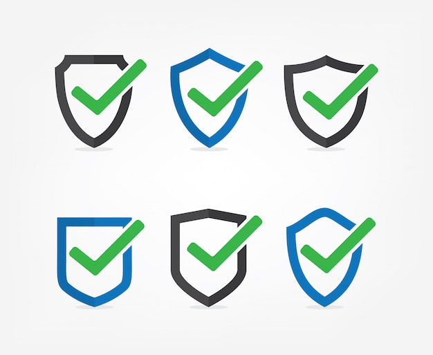 Set of tick mark approved icon vector on white background Premium Vector