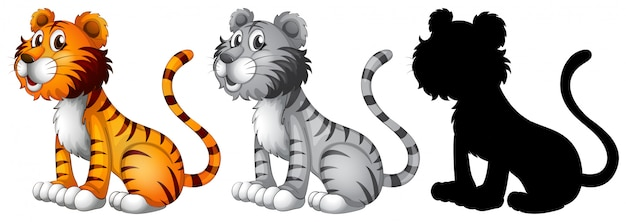 Set of tiger character Free Vector