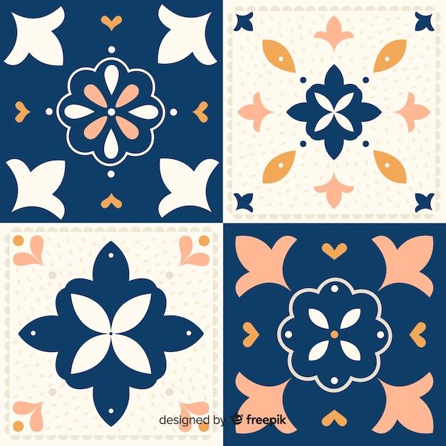 Set of tiles in flat design Free Vector
