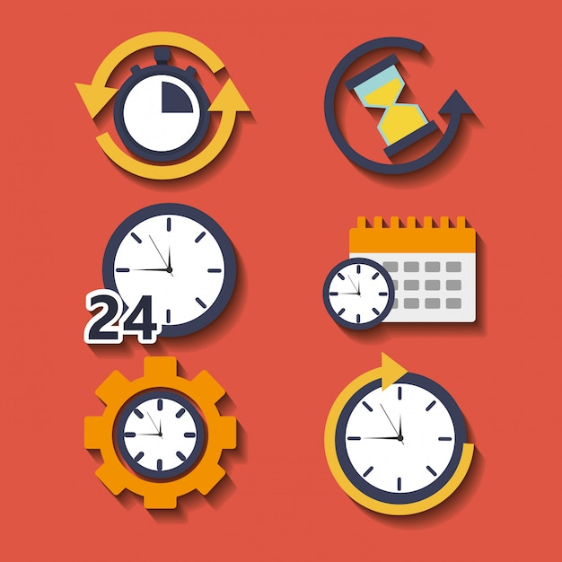 Set of time clock hour for plan work service Free Vector