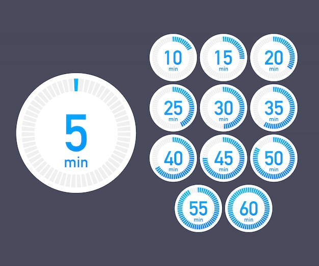 Set of timers. sign icon. full rotation arrow timer. colored flat icons. set of 12 timer icons. flat design Premium Vector