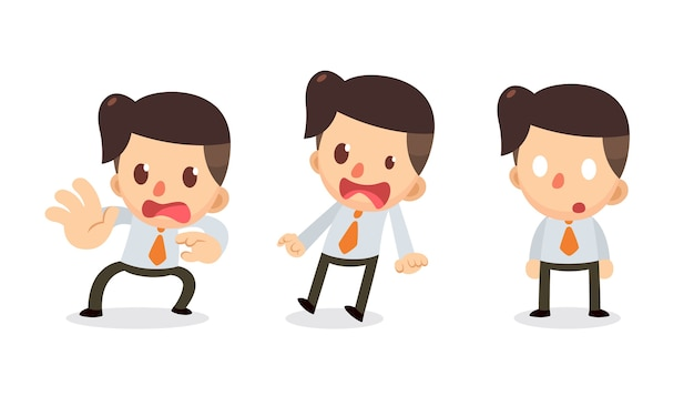 Set of tiny businessman character in actions. shocked. Premium Vector