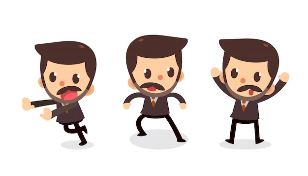 Set of tiny businessman character in actions. Premium Vector