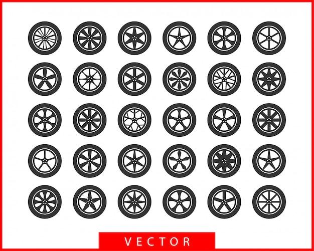 Set tires and wheels. disc wheel car icon . Premium Vector