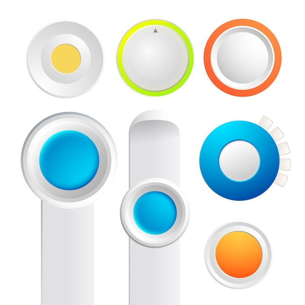 Set of toggle buttons collection with colorful round things and strips of board on the white Free Vector