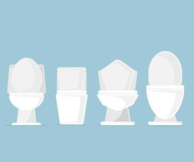 Set of toilet bowls in bathroom vector illustration Premium Vector